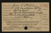 Entry card for Stephan, John F. for the 1921 May Show.