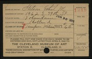 Entry card for Stilson, Ethel for the 1921 May Show.