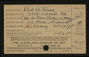 Entry card for Travis, Paul Bough for the 1921 May Show.