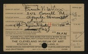 Entry card for Wilcox, Frank N. (Frank Nelson) for the 1921 May Show.