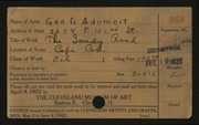 Entry card for Adomeit, George G. for the 1922 May Show.