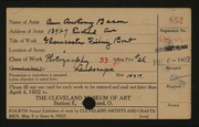 Entry card for Bacon, Ann Anthony for the 1922 May Show.