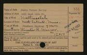 Entry card for Bailey, Henry Turner for the 1922 May Show.
