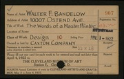 Entry card for Bandelow, Walter F., and Caxton Company for the 1922 May Show.
