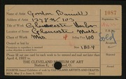 Entry card for Barrick, Shirley Gordon for the 1922 May Show.
