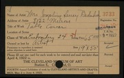 Entry card for Beduhn, Josephine Laney for the 1922 May Show.