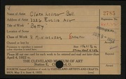 Entry card for Bell, Clara  for the 1922 May Show.