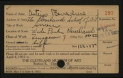 Entry card for Beneduce, Antimo for the 1922 May Show.