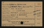 Entry card for Beneker, Gerrit A. for the 1922 May Show.