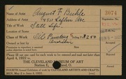 Entry card for Biehle, August F. for the 1922 May Show.