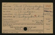 Entry card for Biersdorfer, Paul for the 1922 May Show.