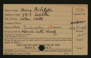Entry card for Biletzka, Mary for the 1922 May Show.