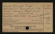 Entry card for Boyd, Frank D. for the 1922 May Show.