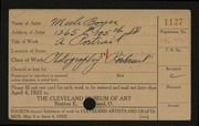 Entry card for Boyer, Merle for the 1922 May Show.