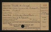 Entry card for Brough, Walter H. for the 1922 May Show.