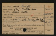 Entry card for Burko, Anna, and Biletzka, Mary for the 1922 May Show.