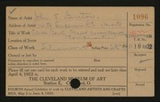Entry card for Burton, John S., and Whitaker, Row; Steen, Grace A. for the 1922 May Show.
