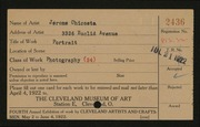 Entry card for Chircosta, Jerome  for the 1922 May Show.