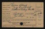 Entry card for Clough, Thomas for the 1922 May Show.