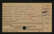 Entry card for Collins, Mary Susan for the 1922 May Show.