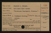 Entry card for Colman, Charles C. for the 1922 May Show.