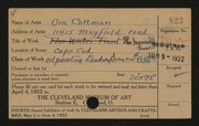 Entry card for Coltman, Mrs. Ora A. for the 1922 May Show.