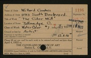 Entry card for Combes, Willard Wetmore for the 1922 May Show.