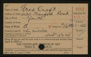 Entry card for Craft, Fred for the 1922 May Show.