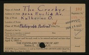 Entry card for Crosbys, The for the 1922 May Show.