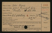 Entry card for Csosz, John for the 1922 May Show.
