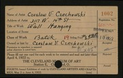 Entry card for Czechowski, Chester V. for the 1922 May Show.