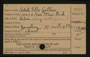Entry card for De Gollier, Adele I. for the 1922 May Show.