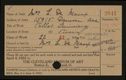 Entry card for De Maux, Mrs. E. for the 1922 May Show.