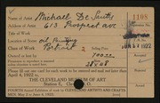 Entry card for De Santis, Michael for the 1922 May Show.