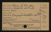 Entry card for Deike, Clara L. for the 1922 May Show.