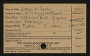 Entry card for Di Nardo, Antonio for the 1922 May Show.
