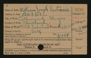 Entry card for Eastman, William Joseph for the 1922 May Show.