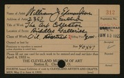 Entry card for Edmondson, William J. for the 1922 May Show.