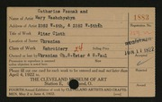 Entry card for Fesnak, Catherine, and Washchyshyn, Mary for the 1922 May Show.