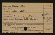 Entry card for Fil, Anna for the 1922 May Show.