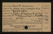 Entry card for Gaertner, Carl Frederick for the 1922 May Show.