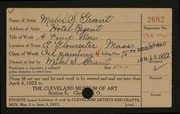 Entry card for Grant, Mabel S. for the 1922 May Show.