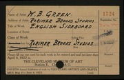 Entry card for Green, William B., and Rorimer-Brooks Studios for the 1922 May Show.