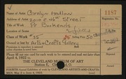 Entry card for Vinson, Carolyn Hadlow for the 1922 May Show.