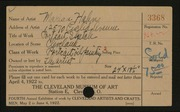 Entry card for Hahn, Marian for the 1922 May Show.
