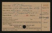 Entry card for Harvey, H. F. for the 1922 May Show.