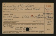 Entry card for Hatch, Mrs. Henry R. for the 1922 May Show.
