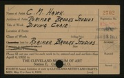Entry card for Hawk, Clayton M., and Green, William B.; Rorimer-Brooks Studios for the 1922 May Show.
