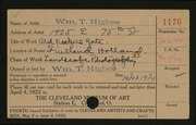 Entry card for Higbee, William T. for the 1922 May Show.