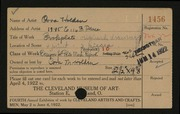 Entry card for Holden, Cora for the 1922 May Show.